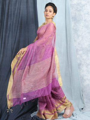 Violet Jute Silk Saree