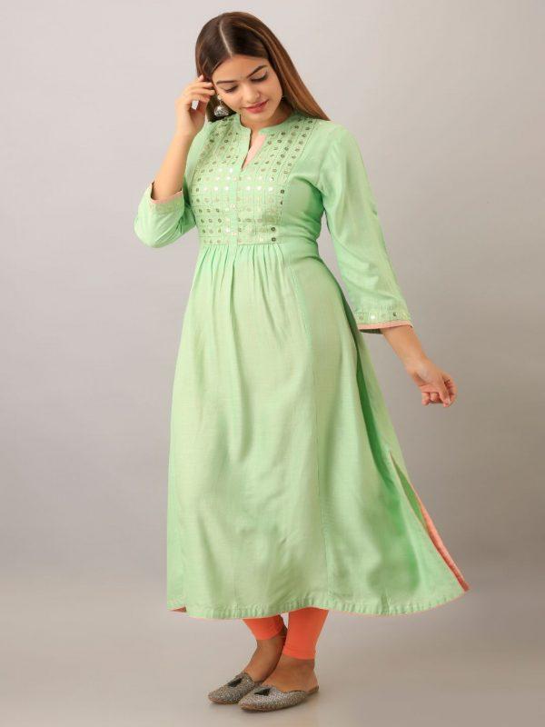 Lime green rayon women kurta