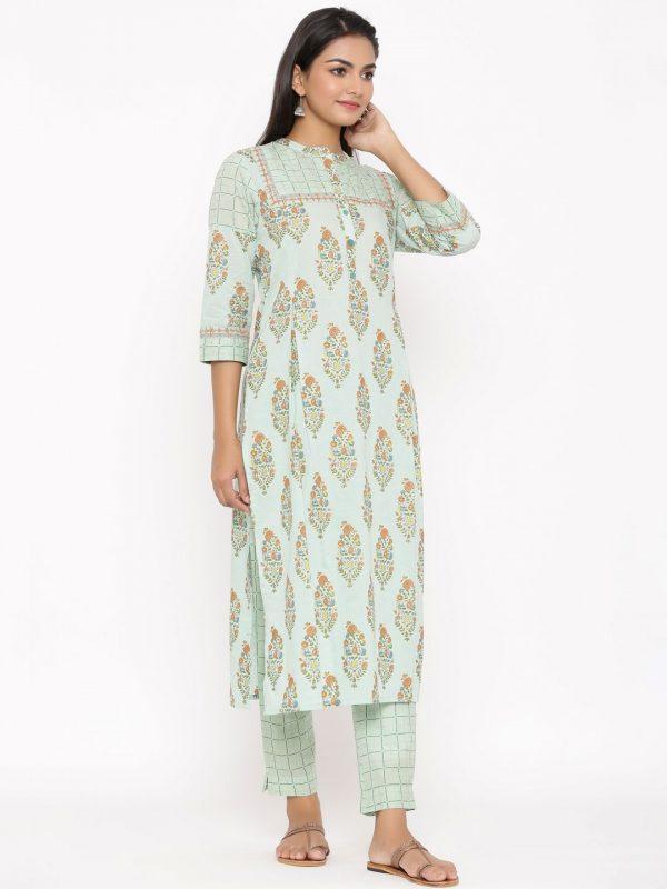 Printed green cotton kurta