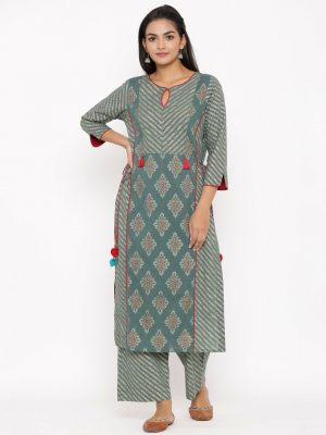 Bottle Green Printed Kurta Set