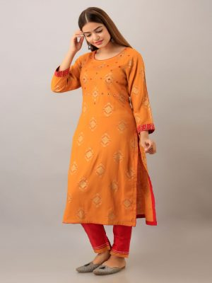 Orange Printed Rayon Kurta Set
