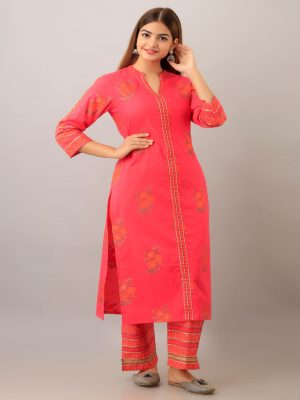 Pink Printed Kurta Set