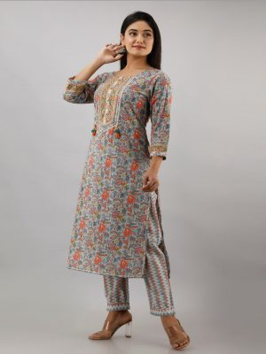 Grey Printed Kurta Set