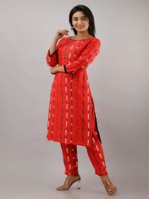 Red Printed Kurta Pant Set