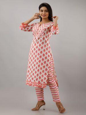 Pink Printed Kurta Pant Set