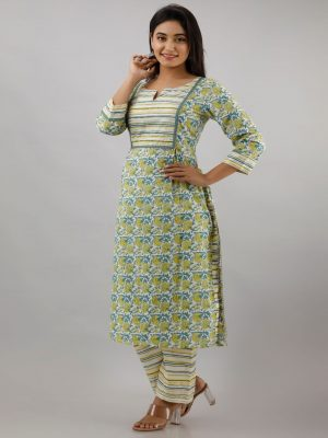 Green Printed Kurta Pant Set