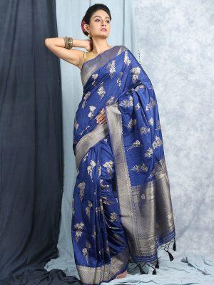 Blue Banarasi Jacquard Saree