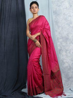 Magenta Silk Tanchoi Saree