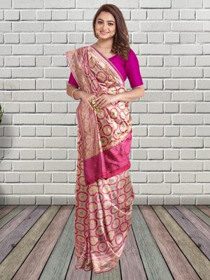 Fuschia Banarasi Silk Saree