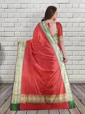 Deep Red Banarasi Silk Saree