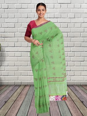 Green Pure Linen Saree