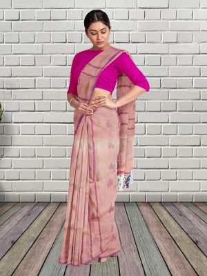 Peach Pure Linen Saree
