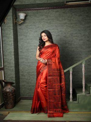 Rusty Red Baluchari Bishnupuri Saree