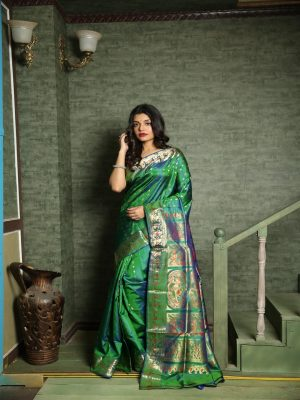 Emerald Green Swarnachari Silk Saree