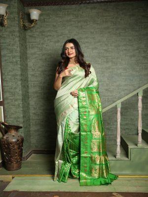 Sap Green Swarnachari Silk Saree