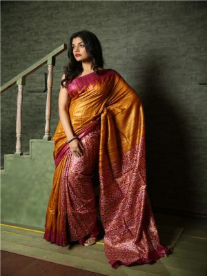 Dark Pink Gheecha Silk Saree