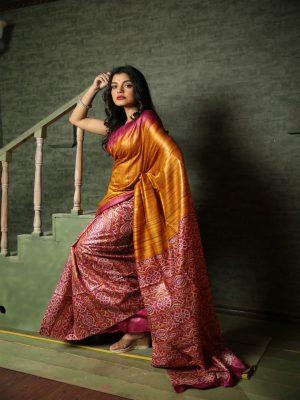 Dark Pink Gheecha Silk Saree