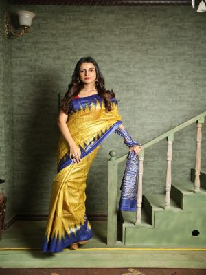 Golden Yellow Ghicha Silk Saree