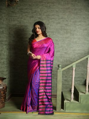 Blue Purple Bishnupuri Silk Saree