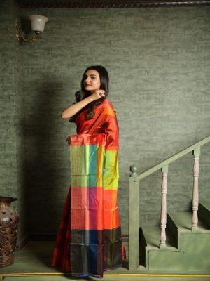 Rust Bishnupuri Silk Saree