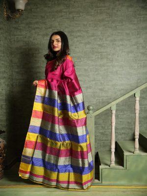 Multicolor Katan Bishnupuri Silk Saree