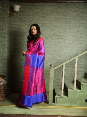 Deep Pink Tussar Striped Saree