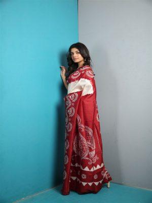 Red Katan Silk Saree