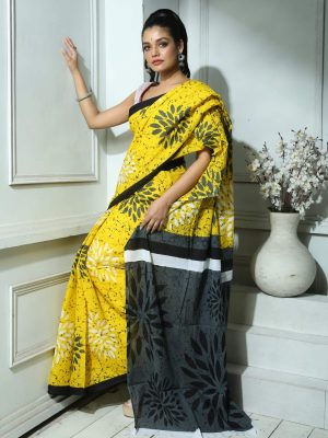 Yellow Floral Printed Cotton Saree
