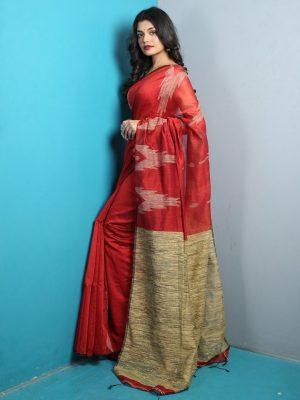 Maroon Ghicha Weave Saree
