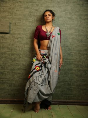 Grey Khadi Cotton Embroidered Saree
