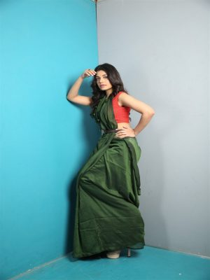 Deep Green Khadi Cotton Saree