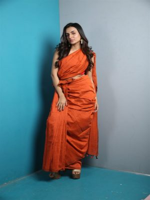 Orange Khadi Cotton Saree