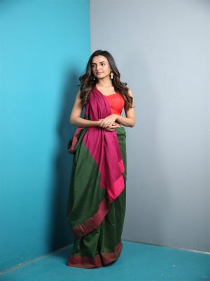 Dark Green Khadi Cotton Saree