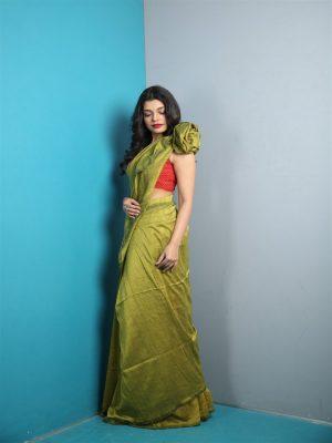 Olive Khadi Cotton Saree