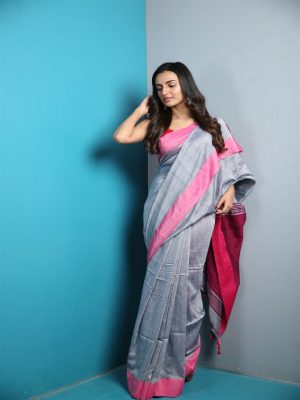 Grey Khadi Cotton Saree