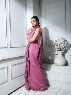 Lilac Khadi Cotton Saree