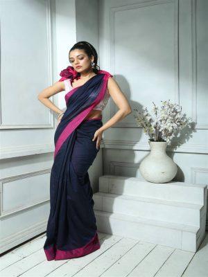 Deep Blue Khadi Cotton Saree