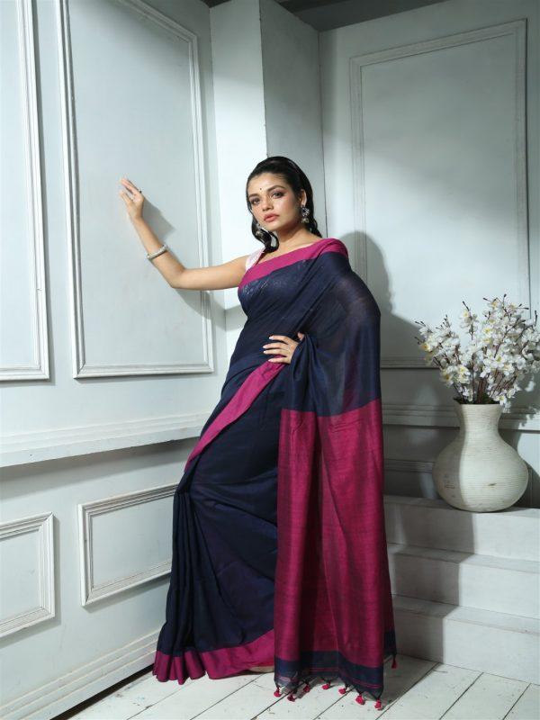 Deep blue khadi cotton sari
