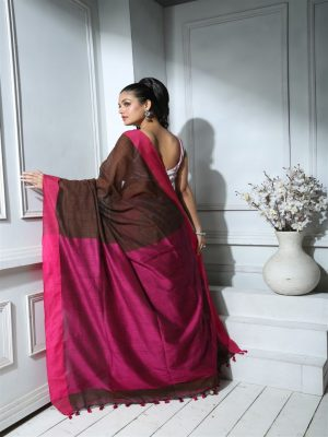 Coffee Brown Khadi Cotton Saree