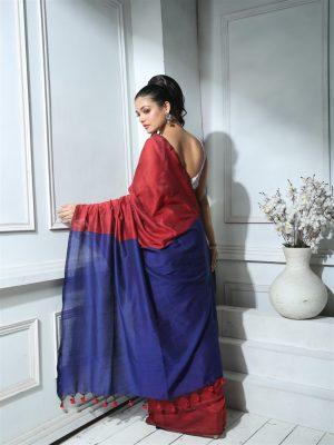 Red Khadi Cotton Saree