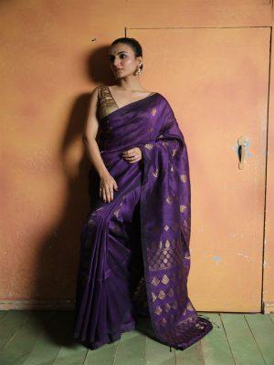 Violet Organic Linen Saree