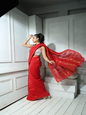 Red Organic Linen Saree