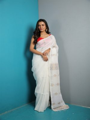 White Organic Linen Saree