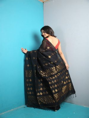 Black Organic Linen Saree