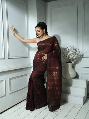 Brown Organic Linen Saree