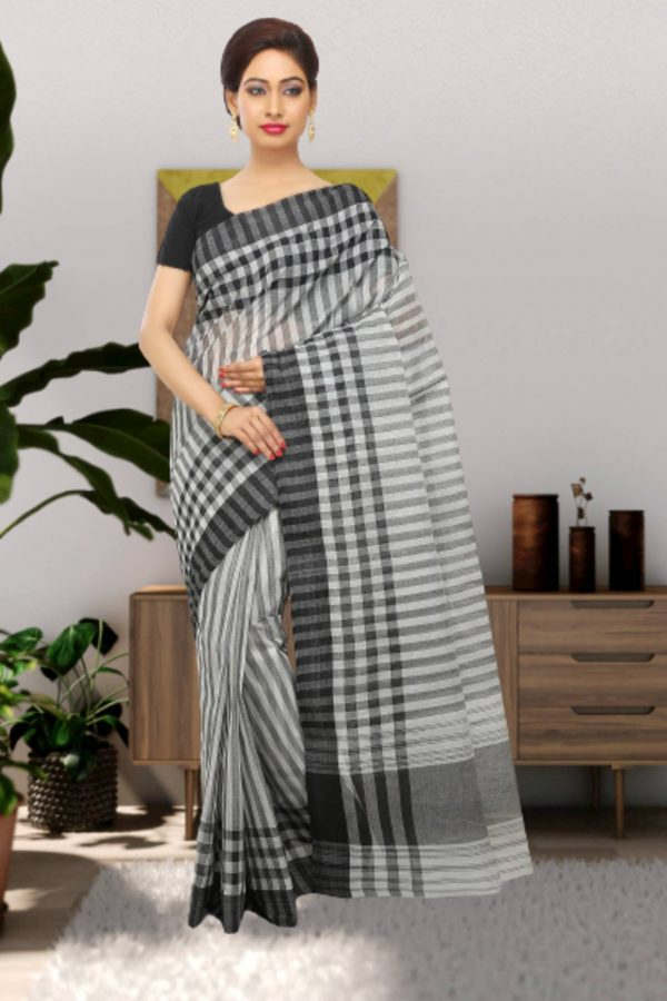 black tant cotton saree