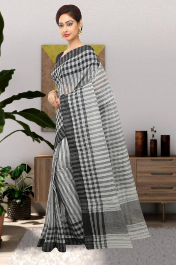 black tant cotton sari