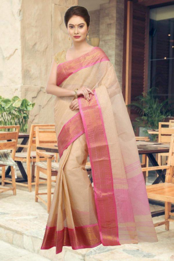 beige tant cotton sari