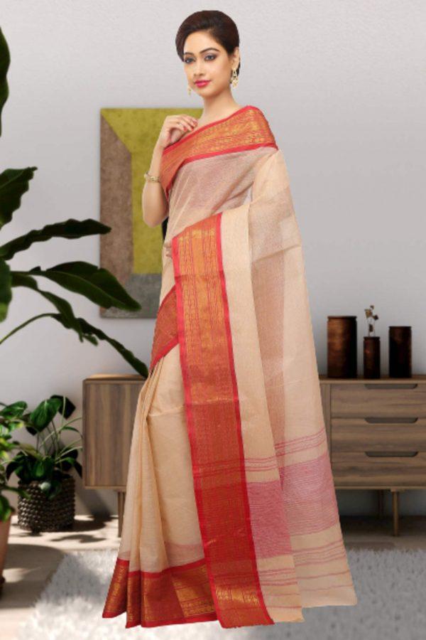 red tant cotton sari