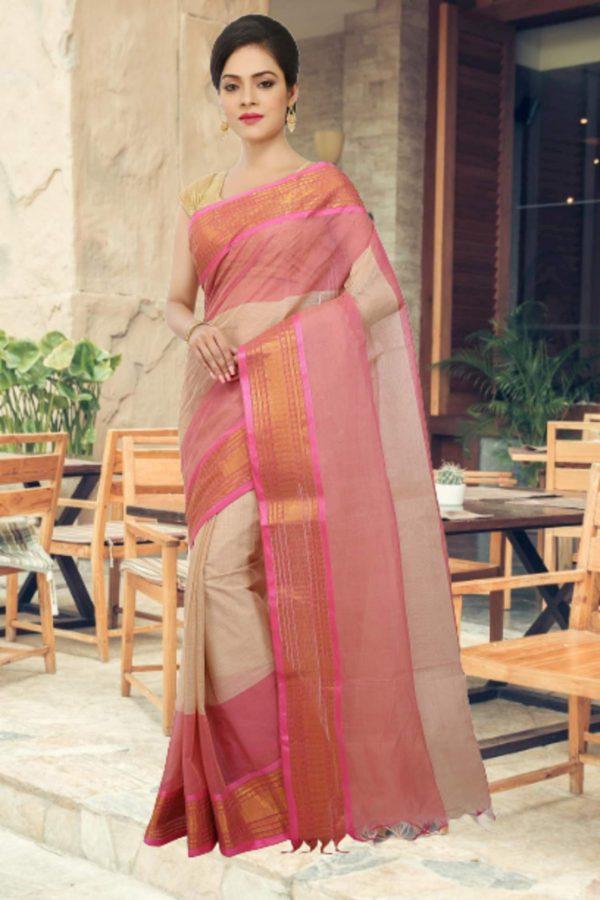 pink tant cotton sari
